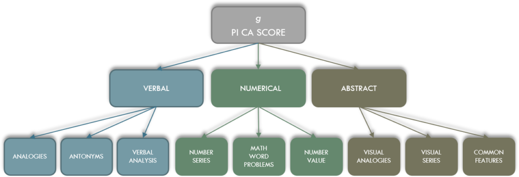 The Predictive Index PI Cognitive Assessment g factor subcategories